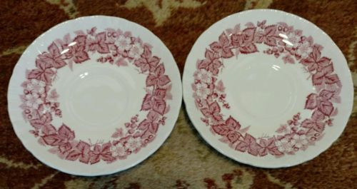 2 Wedgwood BRAMBLE pink SHELL EDGE saucers for teacups (multiple available)