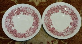 2 Wedgwood BRAMBLE pink SHELL EDGE saucers for teacups (multiple available) - $10.57
