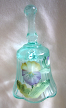"""Fenton 4 1/4"""" Turquoise Bell Hand-Painted Daisies  Signed C Curry - $15.99"""