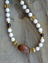 White coral necklace, eye agate necklace, gemstone beaded necklace (276) - $26.00