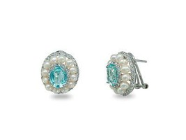 Pearls & Lab Paraiba Omega Earrings in 925 Sterling Silver for Women - $228.00