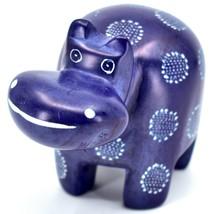 "Hand Carved Kisii Soapstone ""Happiness"" Dark Blue Hippopotamus Hippo Figure image 2"