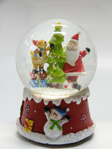 SANTA CLAUS & REINDEER DECORATING CHRISTMAS TREE WATER GLOBE CHRISTMAS D... - $19.88