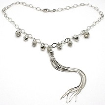 Necklace Silver 925, Chain Oval, Waterfall, Fringed, Spheres Pattern~Han... - $161.87