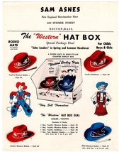 Western Hat Box TOYS Cowboy Cowgirls Rodeo HATS Retail Advertising Sheet Packagi - $14.99