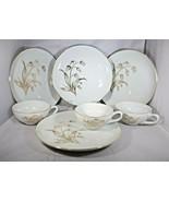Snack Set 7 Pcs White Porcelain Gold Lily Valley Design 4 Plates 3 Cups ... - $7.92
