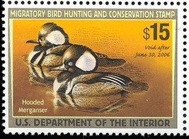 RW72, VF Mint NH 2006 Hooded Merganser Federal Duck Stamp - Stuart Katz  - $21.95