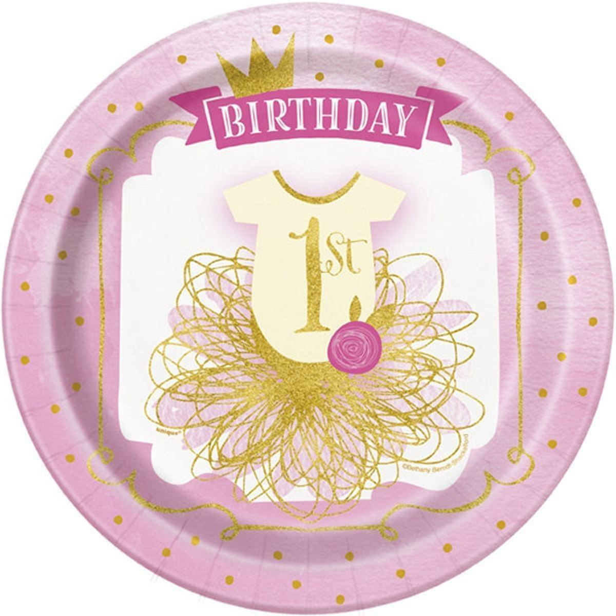 "1st Birthday Pink Gold Girls 8 Ct Lunch Dinner 9"" Plates"