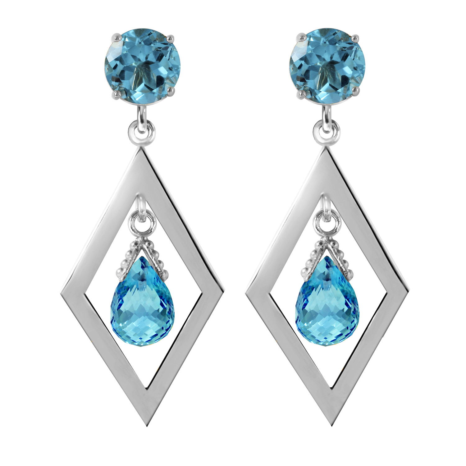 Primary image for 2.4 Carat 14K Solid Gold Make A Comeback Blue Topaz Earrings
