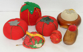 Lot of 7 Vintage Pin Cushions - Tomatoes, Wood Souvenirs, Cat - $12.99