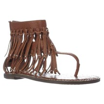 Sam Edelman Griffen Gladiator Fringe Sandals, Saddle Leather, 6 US / 36 EU - $47.99