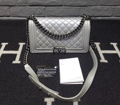 AUTHENTIC CHANEL SILVER QUILTED CALFSKIN MEDIUM BOY FLAP BAG RHW image 2