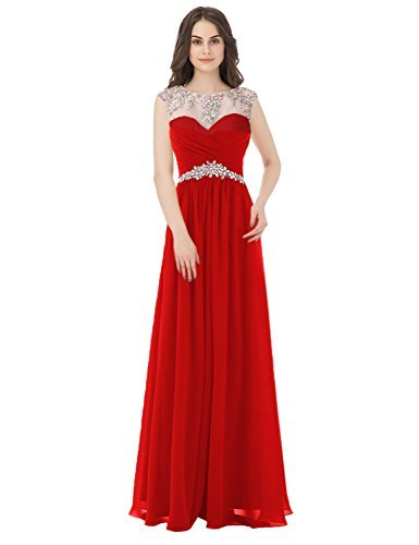 Primary image for Women's High Neck Long Chiffon A-line Beading Bridesmaid Dresses Prom Gowns 2018