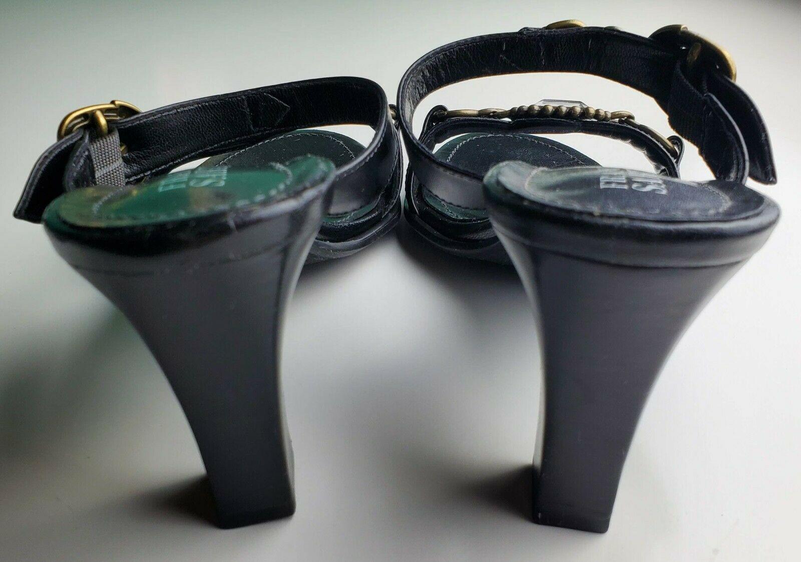 Franco Sarto Black Two Strap Women's Heels With Jewel Size 8.5 image 5