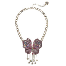 Betsey Johnson Glitter Butterfly Crystal Statement LARGE Necklace B13669... - $51.60