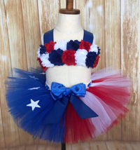 American Flag Tutu Set, Patriotic Pageant Tutu Set - $40.00+