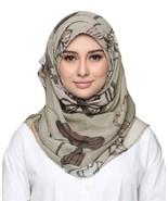 BOKITTA SERENE GREIGE - PRINTED SMOOTH CHIFFON INSTANT HIJAB Muslim Scar... - $55.62+