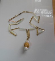 Gold-tone Mother of Pearl Faceted Glass/Plastic Beads/Rhinestone Necklace   - $44.55