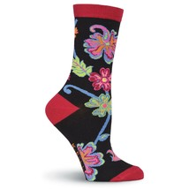 K.Bell Women's Abstract Floral Black Crew Socks fit shoe Size 4-10 Free ... - $9.89