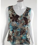 Van Heusen Womens Size Large Brown Blue White Floral Button Up Blouse EUC - $13.09