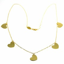 """SOLID 18K YELLOW GOLD NECKLACE WITH BIG 11mm FLAT PENDANTS HEARTS ROLO CHAIN 18"""" image 1"""