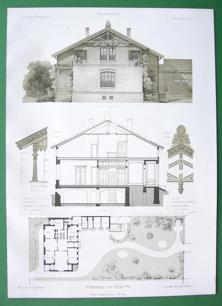ARCHITECTURE PRINT : Germany Halle Design of a Villa Facade Site Plan Section