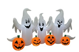 6 Foot Wide Halloween LED Inflatable Ghosts Pumpkins Patch Party Yard De... - $89.00