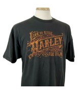 Harley Davidson Live to Ride T-Shirt XL Double Sided Janesville WI Eagle... - $18.79
