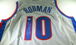 DENNIS RODMAN / NBA H.O.F. / AUTOGRAPHED DETROIT PISTONS CUSTOM JERSEY / BECKETT image 1