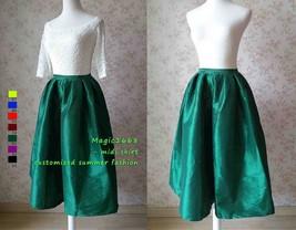 Dark Blue Glossy A Line Ruffle Skirt Women Taffeta High Waist Pleated Midi Skirt image 6