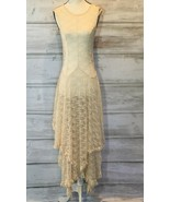 FREE PEOPLE Love Story Cream Lace Slip Sheer Maxi Dress Size S $138 Orig - $79.00