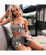 Womens Autumn Casual Shinny Tube Top Shorts Bodycon Two Piece Set Outfit... - $13.68+