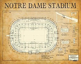 1929 Notre Dame Stadium in Indiana - 11x14 Unframed Art Print - Great Gift and D