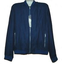 Zara Men's Blue Linen Lining Zipper Collar Sport Jacket Size 2XL 46 NEW - $49.45
