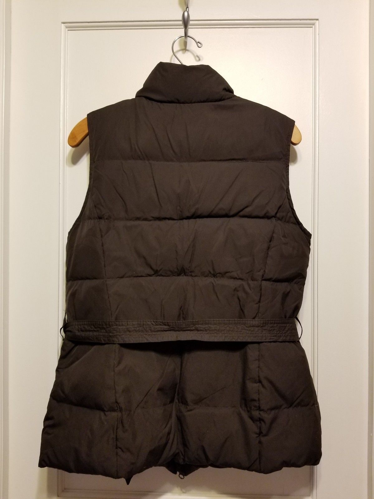 GAP Women's Belted Puffer Vest, Lined, Brown, Size M, Pre-owned