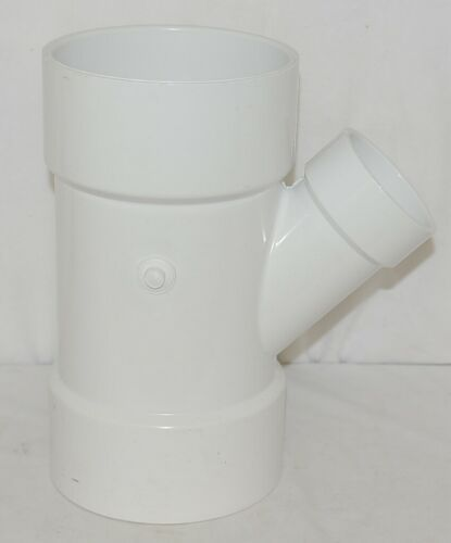 Nibco PVC WYE Six by Six X Three Reducer White Forty Five Degree Angle
