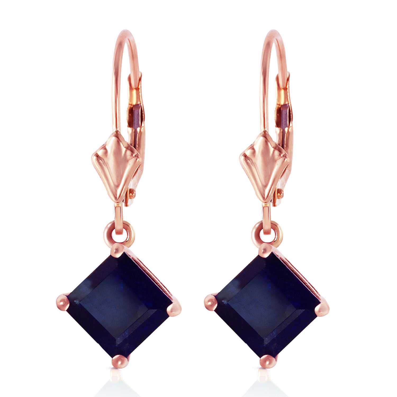 Primary image for 14K Rose Gold Women's Gorgeous Leverback Fashion Earrings w/ Natural Sapphires