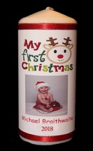 "Personalised 6""x 3"" 1st Christmas Baby Photo Candle ! Cellini Candles #1 - $21.57"