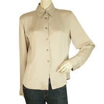 Gucci Taupe Silk Soft Shiny Button Down Shirt Top Size 44 - $197.01