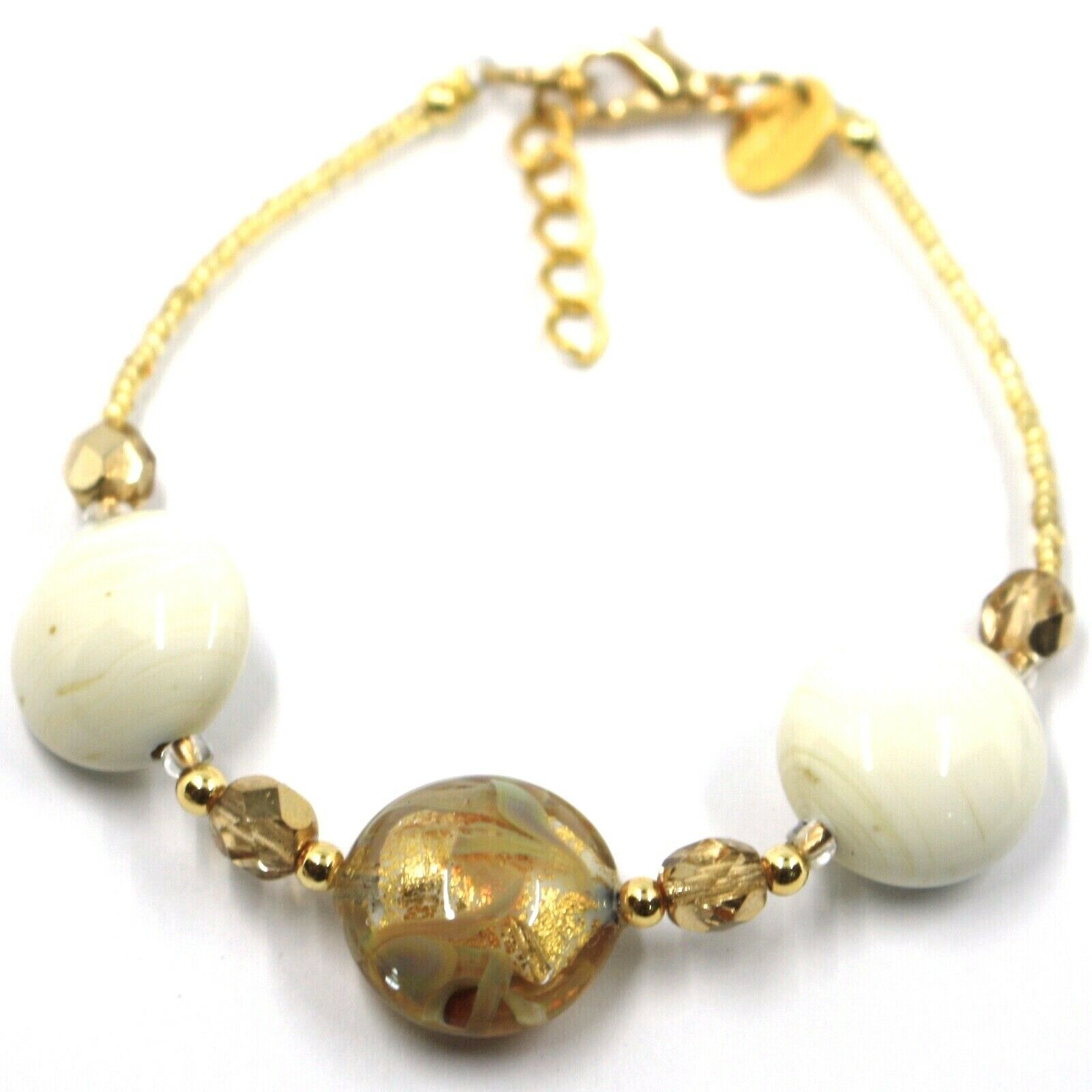"""BRACELET WHITE YELLOW MURANO DISC GLASS & GOLD LEAF, MADE IN ITALY, 19cm, 7.5"""""""