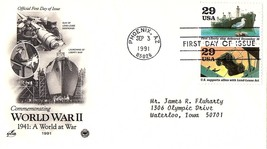 September 3, 1991 First Day of Issue, Postal Society Cover, World War II... - $1.09