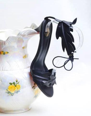 Black Leaf Design Sandal