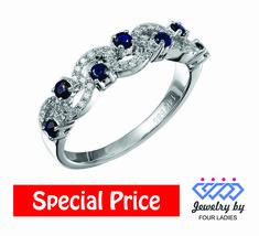 Solid Real Blue Sapphire Diamond Ring 14K White Gold 0.41CT Designer Jew... - $354.51