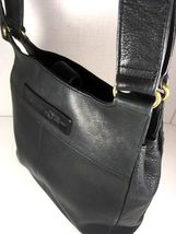 Fossil Vintage Black Leather Multi Pocket Shoulder Bag Brass Tone Hardware image 5