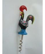 Vintage Enamel Hand Painted Good Luck Portugal Rooster Figural Corkscrew - $19.79