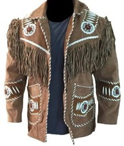 QASTAN Men's Tan Western/Cowboy Suede Leather Fringe Jacket FJ02 - $143.10+