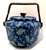 Ironstone China Bowl Blue Floral Lidded Bamboo Handle Biscuit Jar Covere... - $48.50