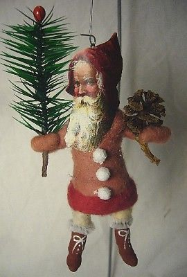 Vintage  Inspired Spun Cotton Santa No.72 Christmas Ornament