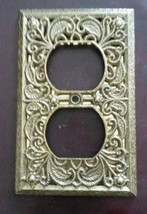 Hollywood Regency Gold Tone Metal Ornate Filigree Outlet Plate - $12.99