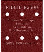 RIDGID R2500 - 1/4 Sheet - 17 Grits - No-Slip - 5 Sandpaper Bulk Bundles - $7.14